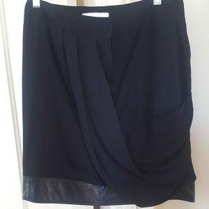 NWT Alexander Wang Leather and Crepe Skirt